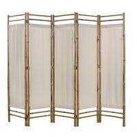 vidaXL istabas aizslietnis, 5 paneļi, 200 cm, bambuss un audekls