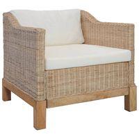 vidaXL atpūtas krēsls ar matračiem, dabīga rotangpalma