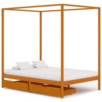 vidaXL gultas rāmis ar nojumi, 2 atvilktnes, priedes masīvkoks