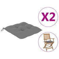 vidaXL dārza krēslu spilveni, 2 gab., pelēki, 40x40x7 cm, audums