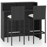 vidaXL 3-daļīgs dārza bāra mēbeļu komplekts ar matračiem, melns