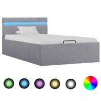 vidaXL gultas rāmis ar LED, hidraulikas mehānisms, gaiši pelēks audums