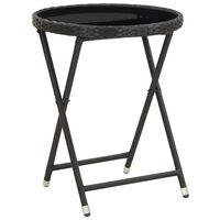 vidaXL tējas galdiņš, melns, 60 cm, PE pinums, rūdīts stikls