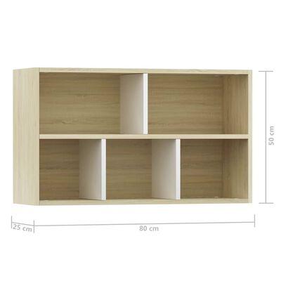 vidaXL grāmatu plaukts, 50x25x80cm, balts, ozola krāsa, skaidu plāksne