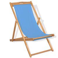vidaXL pludmales krēsls, 56x105x96 cm, tīkkoks, zils