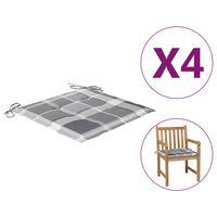 vidaXL dārza krēslu matrači, 4 gab., četrstūru raksts, 50x50x4 cm