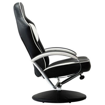 vidaXL sacīkšu atpūtas krēsls ar kāju soliņu, atgāžams, balts