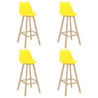 vidaXL bāra krēsli, 4 gab., dzelteni, PP un dižskābarža masīvkoks