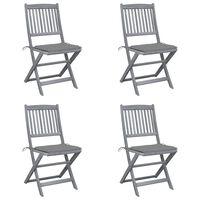 vidaXL saliekami āra krēsli ar matračiem, 4 gab., akācijas masīvkoks
