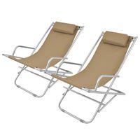 vidaXL atgāžami pludmales krēsli, 2 gab., tērauds, pelēkbrūni