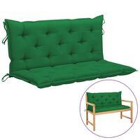 vidaXL šūpuļkrēsla matracis, zaļš, 120 cm, audums
