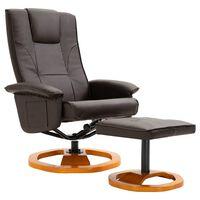 vidaXL grozāms TV krēsls ar kāju soliņu, brūna mākslīgā āda