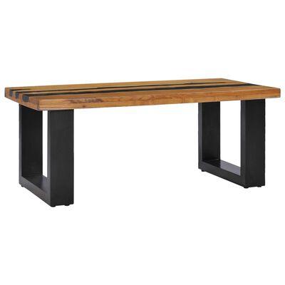 vidaXL kafijas galdiņš, 100x50x40 cm, masīvs tīkkoks un lavas akmens