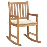 vidaXL šūpuļkrēsls ar krēmkrāsas matraci, masīvs tīkkoks