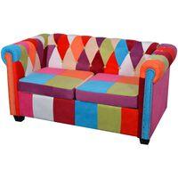 vidaXL Chesterfield auduma dīvāns, divvietīgs