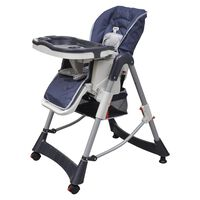 vidaXL bērnu barošanas krēsls Deluxe, regulējams augstums, tumši zils