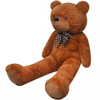 vidaXL rotaļu lācis, XXL, brūns plīšs, 135 cm