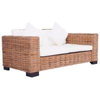 vidaXL divvietīgs dārza dīvāns, dabīgs rotangpalmas pinums