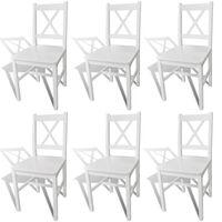 vidaXL virtuves krēsli, 6 gab., balti, priedes koks