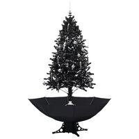 vidaXL mākslīgā Ziemassvētku egle ar pamatni, melna, 190 cm, PVC