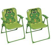 vidaXL bērnu dārza krēsli, 2 gab., zaļš audums