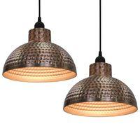 vidaXL griestu lampas ar pusapaļu abažūru, 2 gab., vara krāsā