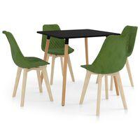 vidaXL 5-daļīgs virtuves mēbeļu komplekts, gaiši zaļš