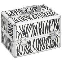 vidaXL kosmētikas koferis, 22x30x21 cm, alumīnijs, ar zebras svītrām