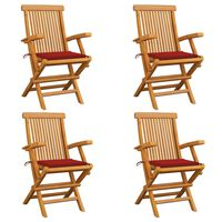 vidaXL dārza krēsli, sarkani matrači, 4 gab., masīvs tīkkoks