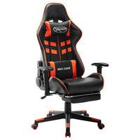 vidaXL datorspēļu krēsls ar kāju balstu, melna un oranža mākslīgā āda