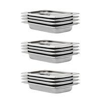 vidaXL Gastronorm trauki, 12 gab., GN 1/4, 40 mm, nerūsējošs tērauds