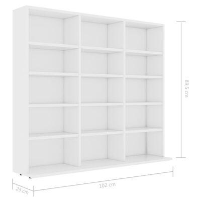 vidaXL CD plaukts, balts, 102x23x89,5 cm, skaidu plāksne