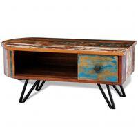 vidaXL kafijas galdiņš, smailas dzelzs kājas, pārstrādāts masīvkoks