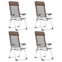 vidaXL kempinga krēsli, 4 gab., brūni, alumīnijs, salokāmi