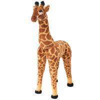 vidaXL rotaļu žirafe, XXL, plīšs, brūna ar dzeltenu