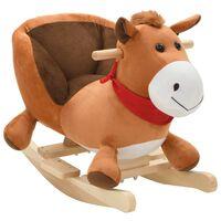 vidaXL bērnu šūpuļkrēsls ar atzveltni, 60x32x50 cm, zirgs, brūns plīšs