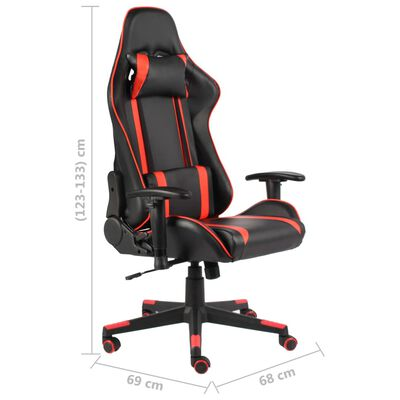 vidaXL datorspēļu krēsls, grozāms, sarkans, PVC