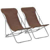 vidaXL saliekami pludmales krēsli, 2 gab., tērauds, audums, brūni