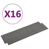 vidaXL paklājflīzes, 16 gab., 4 m², 25x100 cm, pelēkas