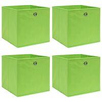 vidaXL uzglabāšanas kastes, 4 gab., 32x32x32 cm, zaļš audums