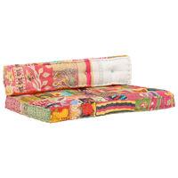 vidaXL palešu dīvānu spilvens, krāsains audums, tekstilmozaīka