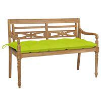 vidaXL sols ar spilgti zaļu matraci, 120 cm, masīvs tīkkoks