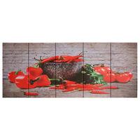 vidaXL audekla sienas gleznu komplekts, paprika, krāsaina, 200x80 cm