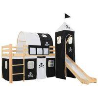 vidaXL bērnu gulta ar slidkalniņu un trepēm, priedes koks, 97x208 cm
