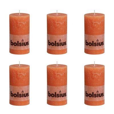 Bolsius cilindriskas sveces, 6 gab., 130x68 mm, oranžas