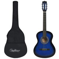 """vidaXL 8-daļīga klasiskā ģitāra bērniem un iesācējiem, zila, 3/4, 36"""""""