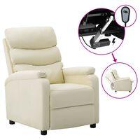 vidaXL elektrisks atpūtas krēsls, atgāžams, krēmkrāsas mākslīgā āda