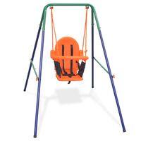 vidaXL bērnu šūpoles, ar drošības jostu, oranžas