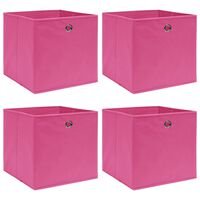 vidaXL uzglabāšanas kastes, 4 gab., 32x32x32 cm, rozā audums