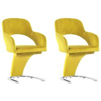 vidaXL virtuves krēsli, 2 gab., dzeltens samts